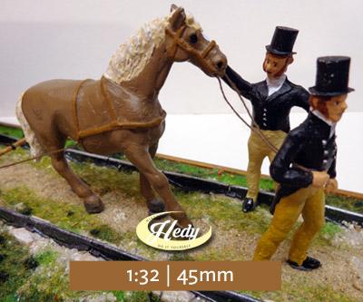 Pferd mit 2 Kutschern 1:32